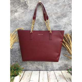 Charles & Keith Double Chain Strap Tote - Burgundy
