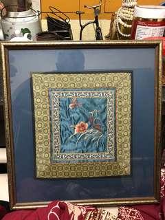 Vintage handkerchief in frame