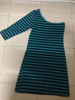 One shoulder stripe dress SMALL
