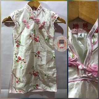 White silk cheongsam floral dress