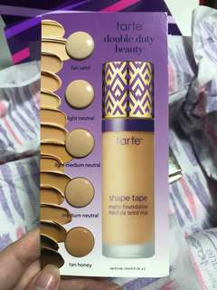tarte shape tape matte foundation swatch card