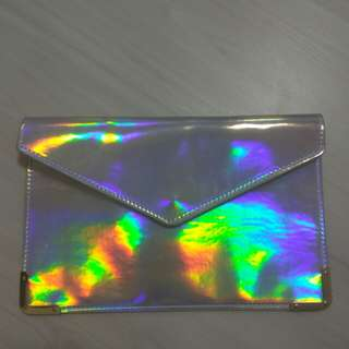 ulzzang pretty holographic clutch