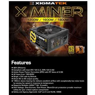 Xigmatek X-Miner 1800W Non Modular PSU (80 Plus Gold Rated Efficiency)