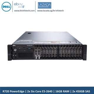Dell R720 Vrtualization Server PowerEdge 2U Rack 2x Six Core E5-2640 16GB RAM 2x450GB HDD H710 2x 2.5''HDD