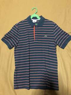 Limited Edition Lacoste Striped Blue and Orange Polo Shirt