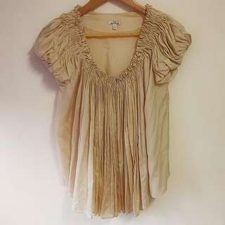 Anna Molinari Silk Blend Beige Top Puff Sleeves Gathered Neckline 意大利 絲 泡泡袖 公主袖 夏裝 上衣