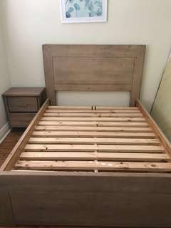 Queen bed frame with matching bedside tables