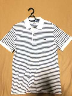 Lacoste Striped Blue and White Polo Shirt