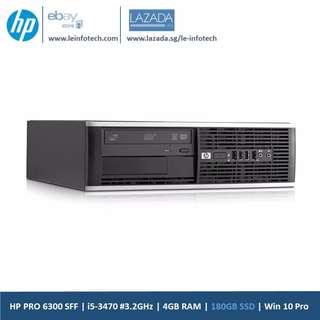HP Elite 6300 Business SFF i5-3470#3.2Ghz 3rd Gen-Quad Core 4GB RAM 180GB SSD Win 10 Pro