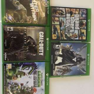 Xbox one Games (Destiny, Call of Duty, Fighter Within, and Garden Warfare)