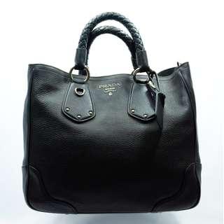 Prada Satchel Black Nappa Leather Shoulder Bag
