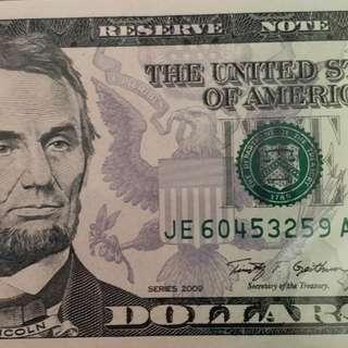 2009年 美金 美元 5元 全新直版