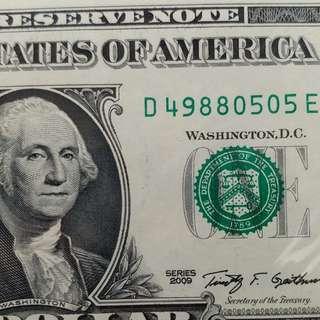 2009年 美金 美元 1元 全新直版