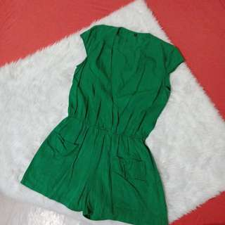 90's romper in dark green