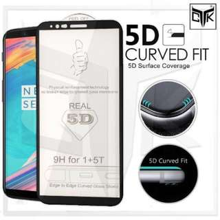 5D Full Adhesive Tempered Glass for Oneplus 5T