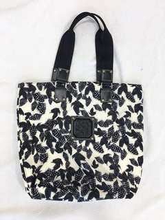 Longchamp Feather Print Nylon Tote Bag with Black Leather Handles