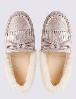 NEW Marks & Spencer Metallic Light Pink Moccasion Slipper