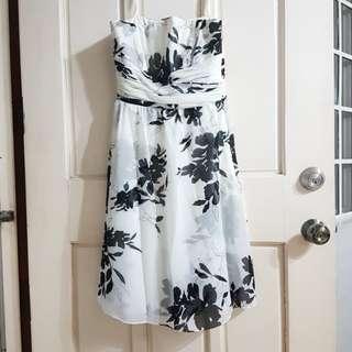Ann Taylor floral black and white tube dress