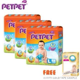 SHOCKING DEAL : PETPET Mega Tape (3 pack) + Fitti Gold Sample (S84/M76/L64/XL52)