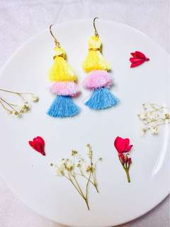 Handmade layered tassels earring