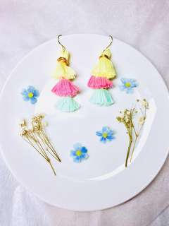 Handmade layered tassels earrings