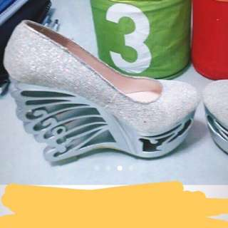 Fancy & Sparkly Silver High Heels