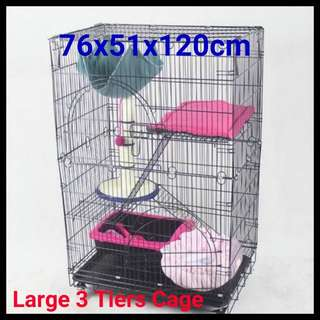 Foldable/Collapsible Iron Frame with Latest Design More Wider On Sale - Brand New 3 Tier Cat Cage