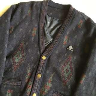 🚚 顛復古⚡️復古藍靛色印地安幾何菱形圖騰古著羊毛開襟外套❤️男女皆可