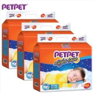 SHOCKING DEAL : PETPET Night Tape Diaper Mega Pack x 3 pack (S66/M60/L50/XL44)