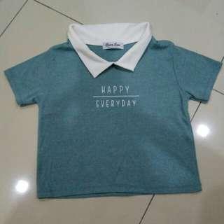 Turquoise green Happy everyday top
