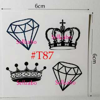 ★Princess Crowns Fake Temporary Body Tattoos Sticker #T87