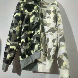 Bape hoodie half camo black and white glow in the dark