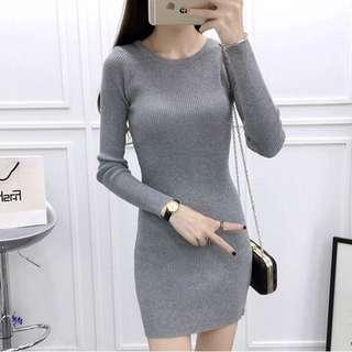 Jody Grey Long Sleeve Bodycon Dress