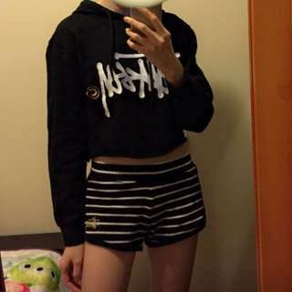 Stussy 女裝 黑色 x 白色 Logo 短款 衛衣 Hoodies 有帽 6碼