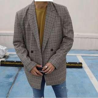 韓國代購 西裝外套 格紋