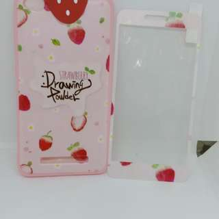 New strawberry manjat plus tempered glass for xiaomi redmi 4A