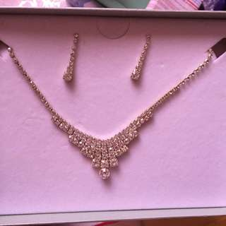 Bundle: Silver diamond studded necklace, earings and braclet bangle