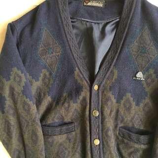 🚚 顛復古⚡️復古印地安幾何方塊雕花磚塊古著開襟毛衣外套❤️男女皆可