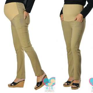 MI & BI MOMENTS MATERNITY STRETCH-MI FULL PANEL 5.0 STRAIGHT CUT LONG PANTS - SANDSTONE