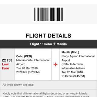 One way Ticket Cebu to Manila