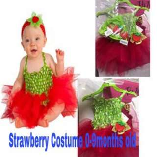 Strawberry Costume  0-6 months old