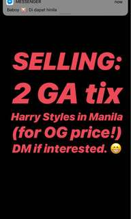 2 General Admission Tickets (Harry Styles in Manila)