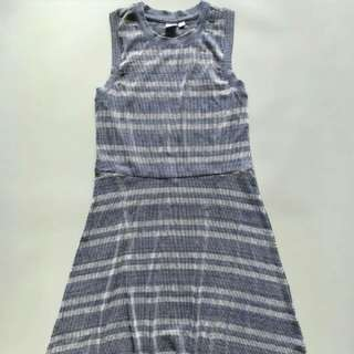 GAP Ribbed Blue Fit Flare Dress