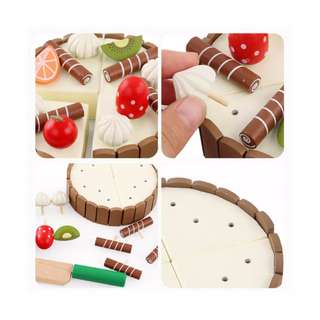 Wooden Magnetic Mini Chocolate Cake Toy Pretend Play