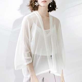 #Bajet20 Chiffon Outerwear (White)