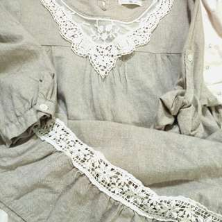 五分袖棉麻洋裝 F