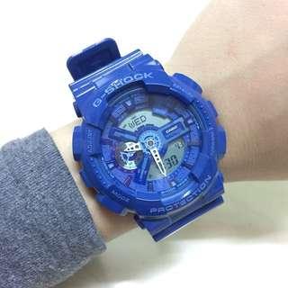 G-SHOCK藍色行針跳字手錶