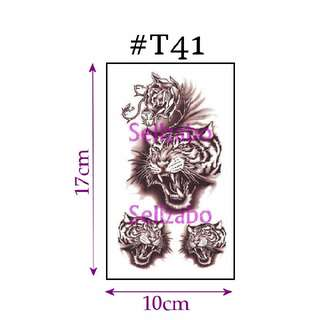 ★Tigers Heads Brown Fake Temporary Body Tattoos Stickers Sellzabo Fierce Animals #T41
