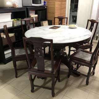 Chinese marble table & chairs