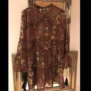 Price Drop -- Verge Girl sheer printed brown gypsy mini dress